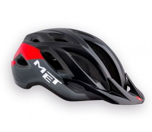 CASCO MET CROSSOVER. NEGRO ANTRACITA ROJO/ BRILLO